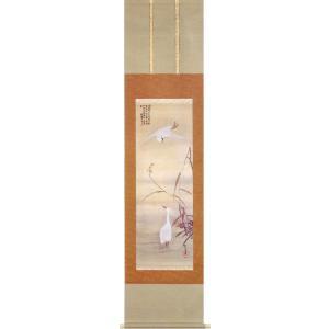 掛け軸 酒井抱一 『飛雪白鷺図』  【掛軸】【半間床】【冬】|kakejiku