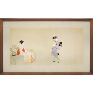 上村松園 絵画 『虹を見る』  【複製】【美術印刷】【巨匠】【横長】|kakejiku