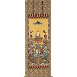 掛け軸 釈迦十六善神 (園田秀園)  【掛軸】【一間床】【法事・仏事】|kakejiku