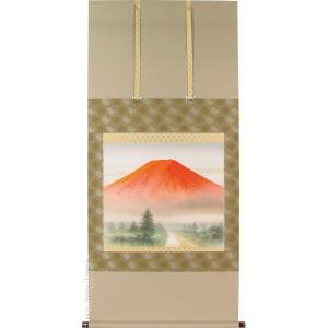 掛け軸 紅富士 (英保流)  【掛軸】【一間床】【丈の短い掛軸】【赤富士】|kakejiku