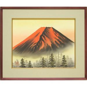 絵画 赤富士 (中山甚)  【海・山】【肉筆】【日本画】【日本の風景】【6号】|kakejiku