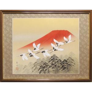 絵画 日本画 赤富士群鶴 (山岸春園)  【肉筆】【日本画】【富士】【10号】|kakejiku