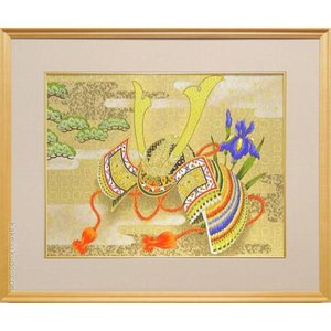 絵画 兜 (工芸和紙額装)  【日本画】【端午】|kakejiku