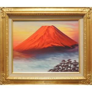 絵画 油絵 赤富士 (森田浩二) F6号  【肉筆】【油絵】【富士】【6号】|kakejiku