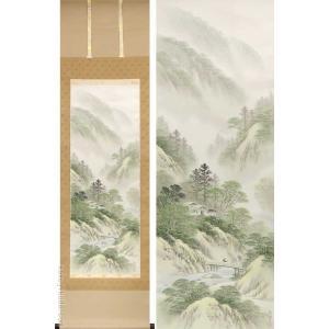 掛け軸 山村風景 (吉村舞堂)  【掛軸】【一間床・半間床】【山水】|kakejiku