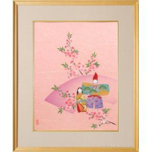 絵画 手染和紙額付 お雛様 (南川康夫)  【肉筆】【エアブラシ】【花】【6号】|kakejiku