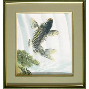 絵画(色紙額) 滝上り鯉 (北村晴方)  【肉筆】【日本画】【鯉】【変型特寸】|kakejiku