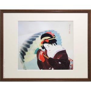 伊東深水 絵画 『吹雪』  【複製】【美術印刷】【巨匠】【変型特寸】 kakejiku