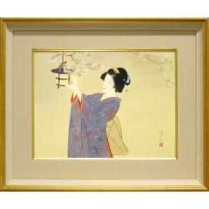 鏑木清方 絵画 『春宵』  【複製】【美術印刷】【巨匠】【変型特寸】|kakejiku