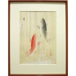 絵画 開運大昇鯉 (中谷文魚)  【肉筆】【日本画】【鯉】【変型特寸】|kakejiku
