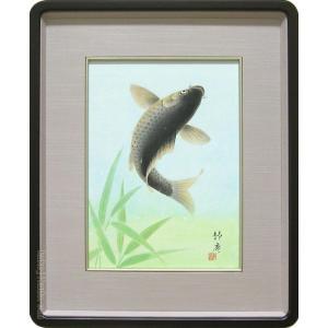 絵画 日本画 跳鯉 (塚下静庵)  【肉筆】【日本画】【鯉】【3・4号】|kakejiku