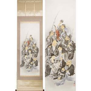 【画 題】七福神 【解 説】楽しげな表情で集う、七柱の福の神様たち。穏やかな色合いが、床の間に気品を...