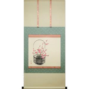掛け軸 桃花 (三宅和光)  【掛軸】【一間床】【丈の短い掛軸】【春】|kakejiku