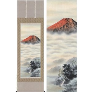 掛け軸 紅富士 (山本観月)  【掛軸】【一間床・半間床】【赤富士】|kakejiku