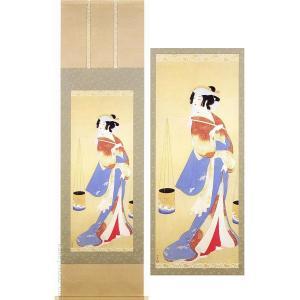 上村松園 掛け軸 『汐くみ』  【掛軸】【半間床】【趣味】|kakejiku