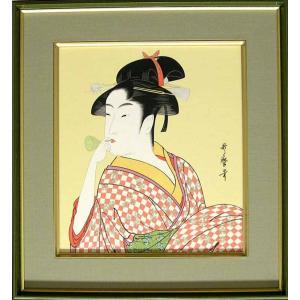 喜多川歌麿 絵画(色紙額) ビードロを吹く娘 |kakejiku