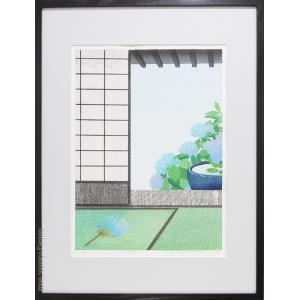 メーカー公式ショップ 人気海外一番 佐野せいじ 木版画 五月雨る 日本の風景 複製 変型特寸