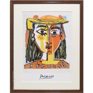 ピカソ 絵画 帽子を被った婦人 アートポスター  【複製】【アートポスター】【世界の名画】【変型特寸】|kakejiku