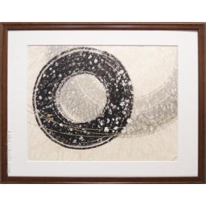 絵画 手漉き和紙と墨 開催中 遊星 変型特寸 抽象画 待望 肉筆