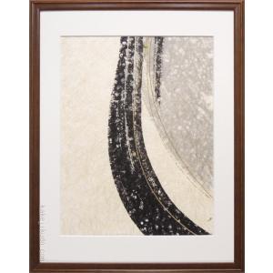 絵画(手漉き和紙と墨) 星流  【肉筆】【抽象画】【変型特寸】 kakejiku