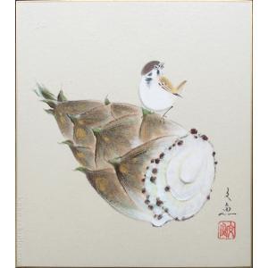 高級色紙「筍(たけのこ)」文魚(色紙絵)|kakejiku