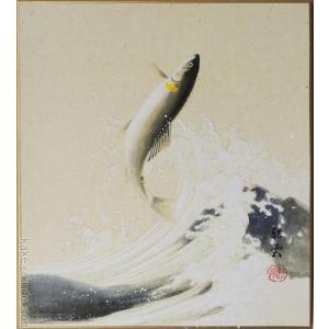 高級色紙「鮎」紅雲(色紙絵)|kakejiku