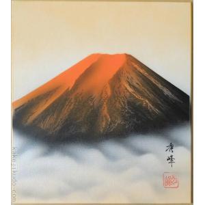 高級色紙「赤富士」秀峰(色紙絵)|kakejiku