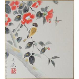 高級色紙「椿」文魚(色紙絵)|kakejiku