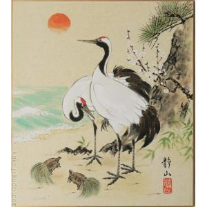高級色紙「松竹梅鶴亀」静山(色紙絵)|kakejiku