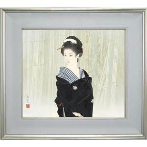 志村立美 美人画 『木場1』 複製画  【複製】【美術印刷】【巨匠】【10号】|kakejiku