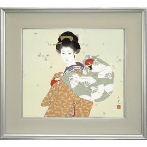 志村立美 美人画 『からっ風』 複製画  【複製】【美術印刷】【巨匠】【10号】|kakejiku