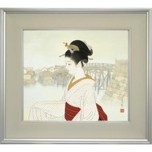 志村立美 美人画 『河岸』 複製画  【複製】【美術印刷】【巨匠】【10号】|kakejiku