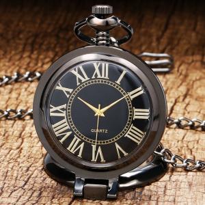 懐中時計 時計 メンズ レディース ポケットウォッチ アンティーク調 ブラック チェーン ローマ数字 アンティークカラー P200C-bk