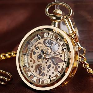機械式手巻き 懐中時計 ポケットウォッチ 機械式時計 アンティーク調 チェーン付 ゴールド レトロ P2058C
