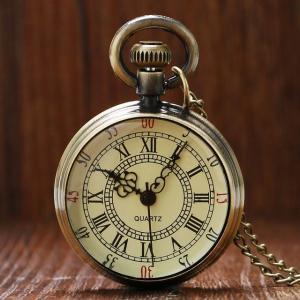 懐中時計  メンズ 腕時計 時計 レディース ウオッチ ネックレス ペンダント アナログ アナログ  アンティーク調 ブロンズ ヴィンテージ ローマ数字 P96
