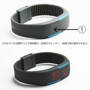 LED メンズ 腕時計 時計 レディース ウオッチ メンズ スポーツ ランニング デジタル腕時計 バングル・ブレスレット腕時計 シリコンウォッチ W-LB01-bk2|kakogawa|02