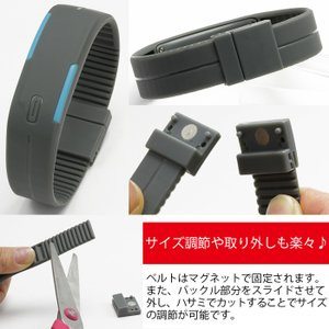 LED メンズ 腕時計 時計 レディース ウオッチ メンズ スポーツ ランニング デジタル腕時計 バングル・ブレスレット腕時計 シリコンウォッチ W-LB01-bk2|kakogawa|03