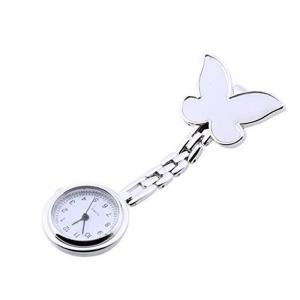 ナースウォッチ 懐中時計 時計 クリップ時計 逆さ文字盤 ナース時計 蝶 バタフライ 看護婦 看護師 XDD-001-1