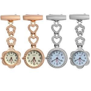 ナースウォッチ 懐中時計 ステンレス 時計 クリップ時計 逆さ文字盤 ナース時計 白衣 アクセサリー クォーツ 安全ピン 電池交換可能  XDL-001