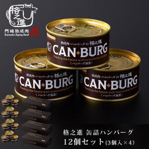 非常食 缶詰 保存食 防災 肉 缶詰め 格之進 ハンバーグ 12缶 セット ギフト 国産牛 白金豚 無添加|kakunoshin