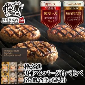 ハンバーグ取り寄せ 冷凍 ギフト 高級 3種の格之進ハンバーグセット (各2個) 黒毛和牛 白金豚 ...