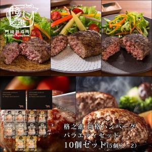 ハンバーグ ギフト 冷凍 格之進ハンバーグ バラエティセット10個入り(各2個) 国産牛 白金豚 無添加|kakunoshin
