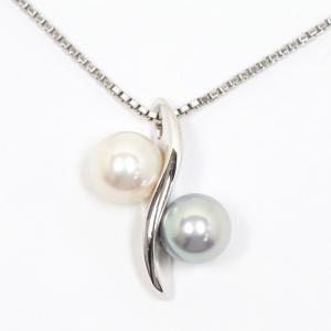 TASAKI タサキ 田崎真珠 K18WG あこや真珠 グレーパール ネックレス|kaleid