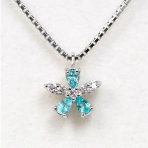 パライバトルマリン 0.08ct ダイヤモンド 0.03ct Pt950/Pt850 ネックレス kaleid