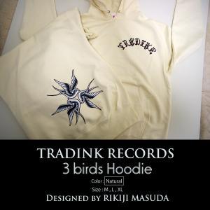 TRADINK RECORDS / トラッドインク・レコーズ - 3 birds Hoodie プルダウン・パーカー/ ナチュラル|kaltz