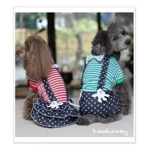 【ドッグウェア】【犬 服】ドットサスペンダーつなぎ&ワンピース kamakuradog