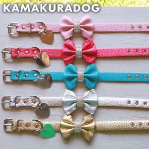 【犬の首輪】リボン付き首輪(本革製)Sサイズ|kamakuradog