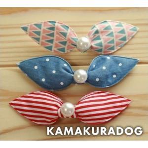 マルチ柄リボン(バレッタ・大1個) kamakuradog