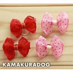 シフォン風リボン(ゴム/バレッタ・2個) kamakuradog