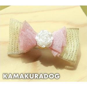 ホワイトローズリボン(ゴム/バレッタ・1個) kamakuradog